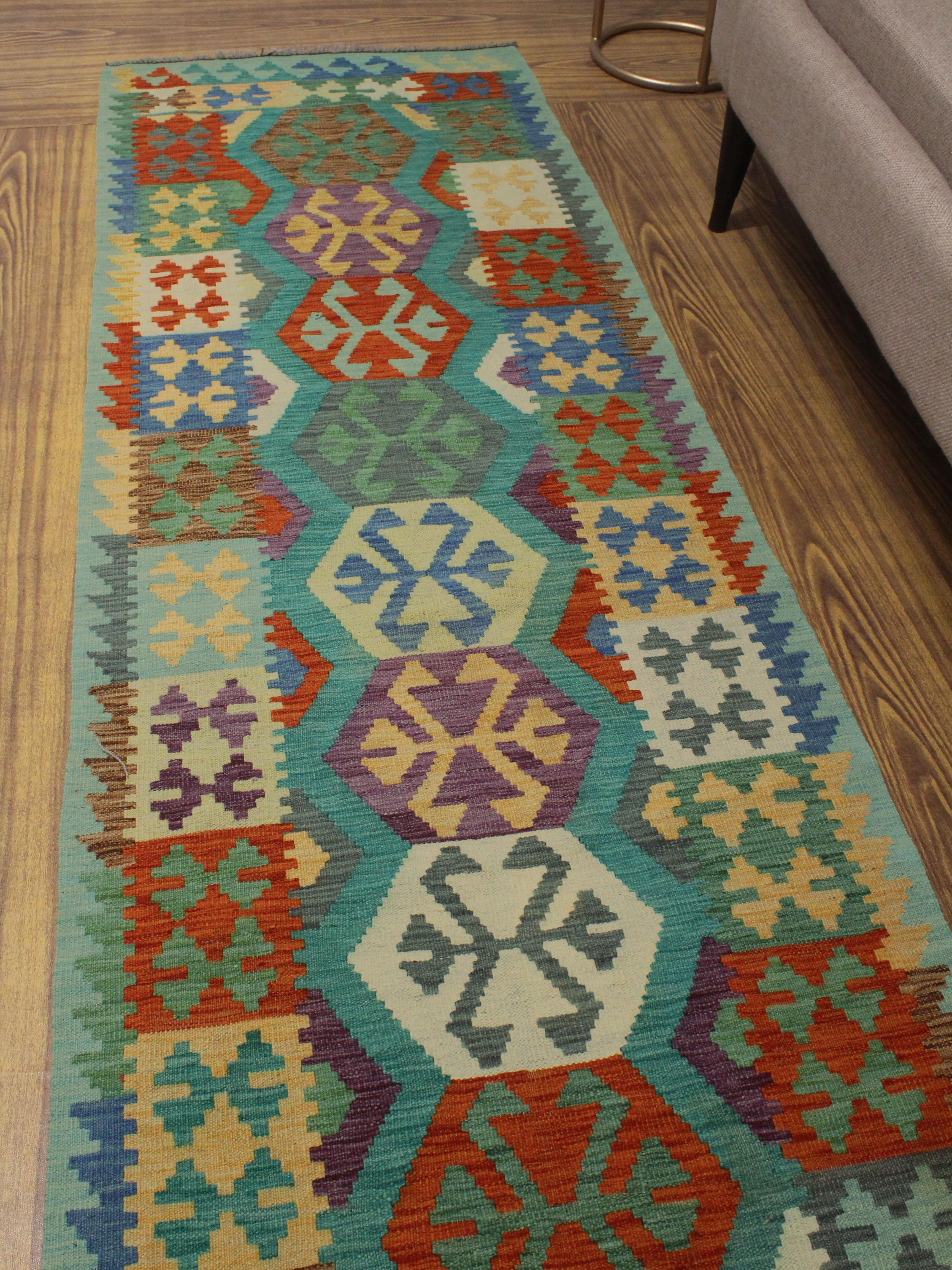 Foundry Select Hults Geometric Handmade Kilim Wool Light Blue Area Rug Wayfair