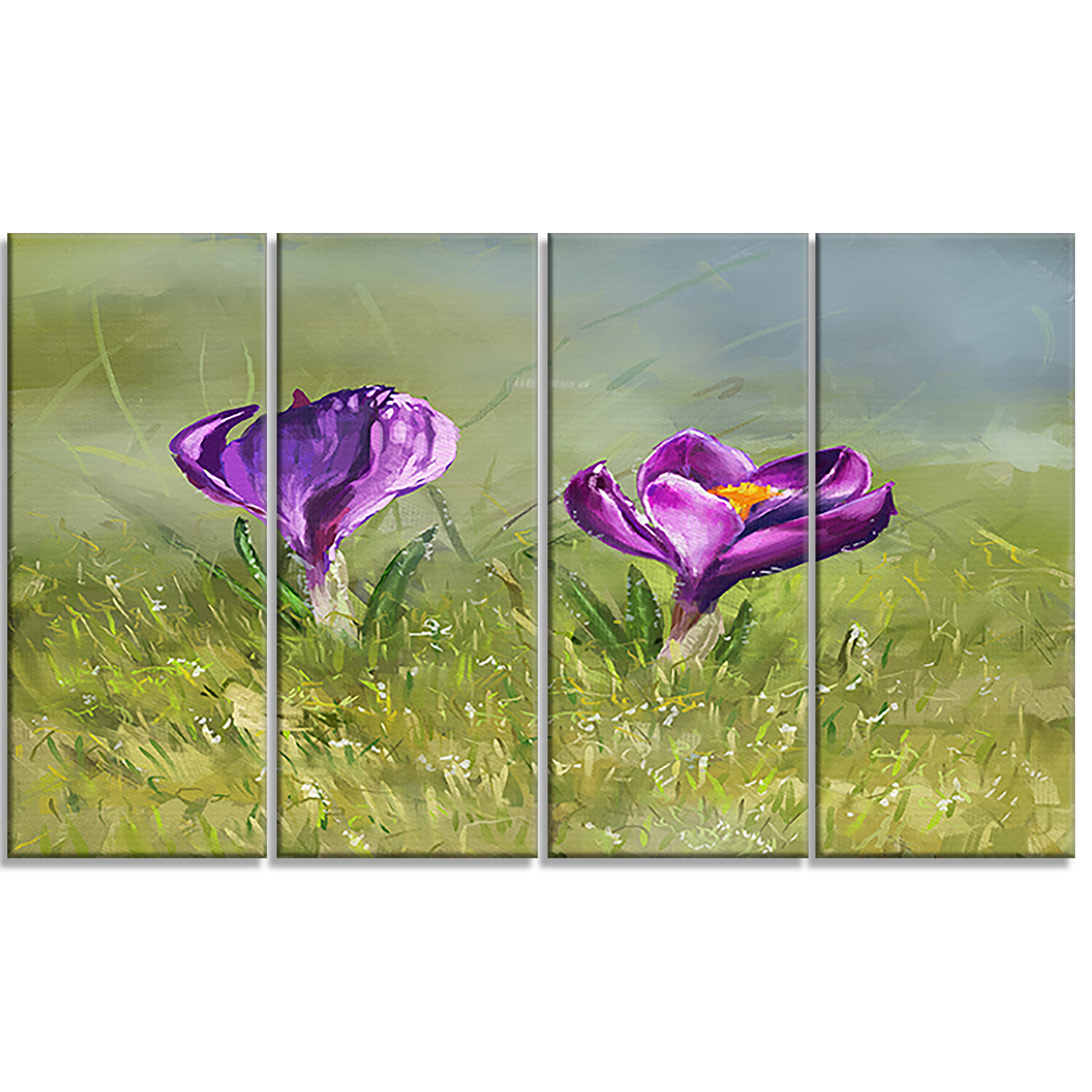 Designart Crocus Couple Floral 4 Piece Painting Print On Wrapped Canvas Set Wayfair