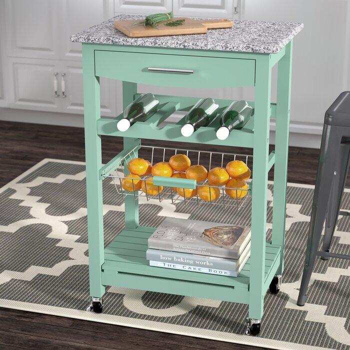 Winston Porter Macy Kitchen Cart with Granite Top