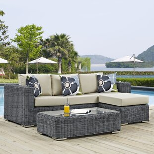 Keiran 5 Piece Rattan Sunbrella Sectional Set with Cushions