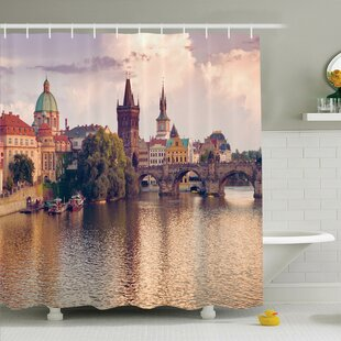 Tamekia Prague River and Bridge Shower Curtain Set