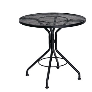 Woodard Mesh Top Contract Round Wrought Iron Dining Table