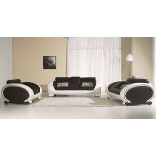 Orren Ellis Pattie 3 Piece Leather Living..