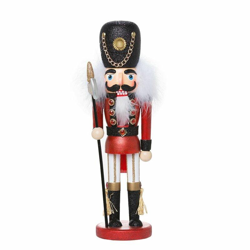 "Christmas Tree Soldier Nutcracker Green Red White 18/"" Wood Kurt Adler Hollywood"