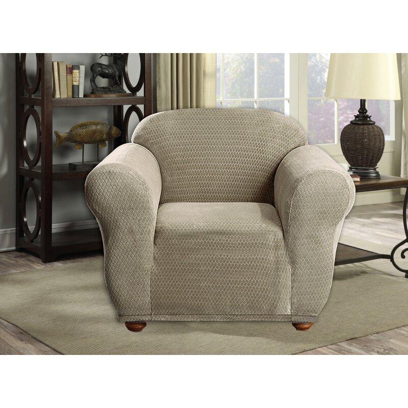 Winston Porter Diamond Velvet Box Cushion Armchair Slipcover Wayfair
