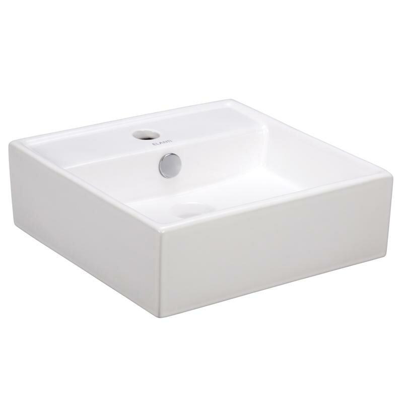 """Elanti Porcelain Ceramic 15"""" Wall Mount Bathroom Sink with ..."""