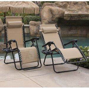 Winnett Zero Gravity Chaise Lounge with Cushion (Set of 2)