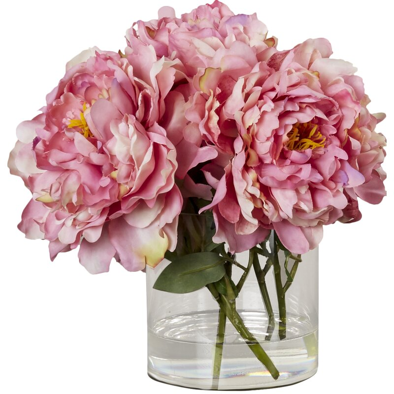 Scollfyld Pink Peony In Acrylic Water Gl Vase