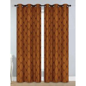 Julia Geometric Room Darkening Thermal Grommet Curtain Panels (Set of 2)