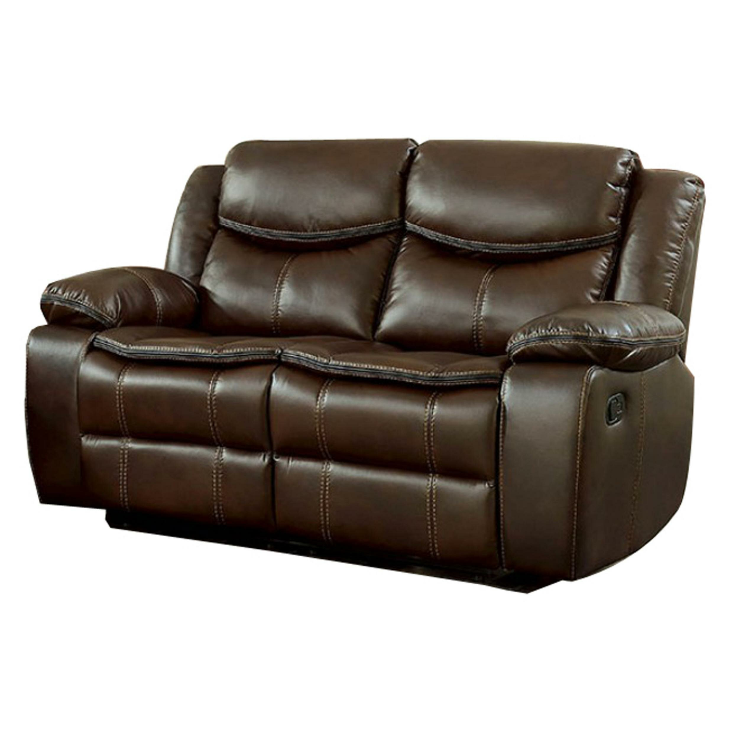 Groovy Helmer Leather Reclining Loveseat Pabps2019 Chair Design Images Pabps2019Com