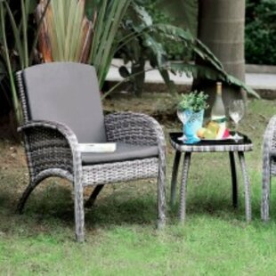 Mariann 3 Piece Bistro Set with Cushions by Wrought Studio