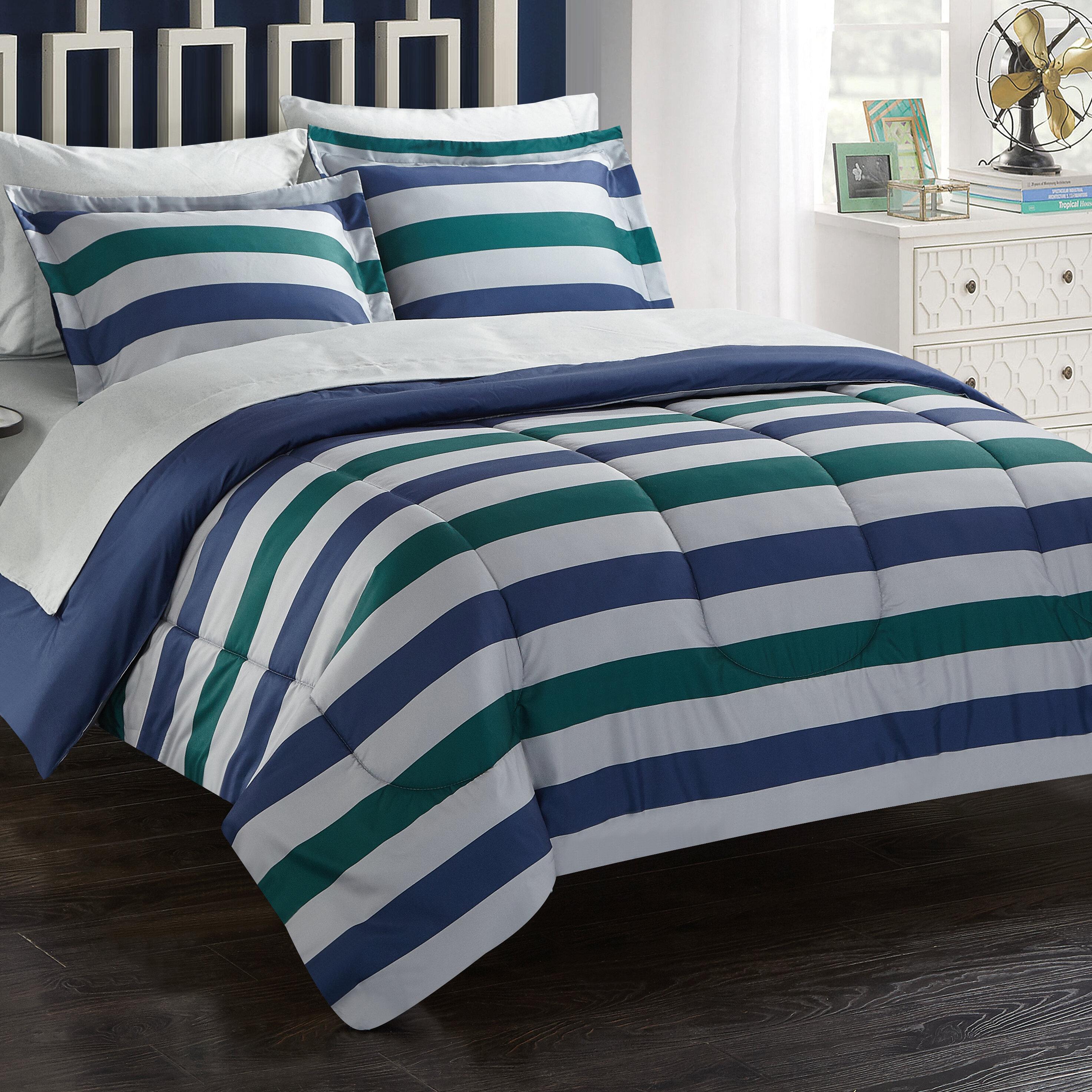 Breakwater Bay Stanton Stripe 7 Piece Reversible Comforter Set Wayfair