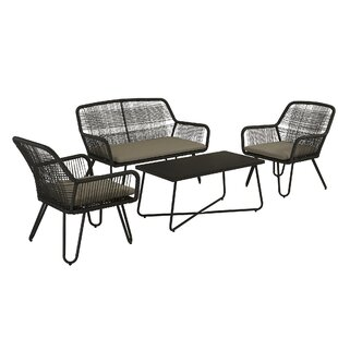 Marli 4 Piece Rattan Sofa Seating Group with Cushions