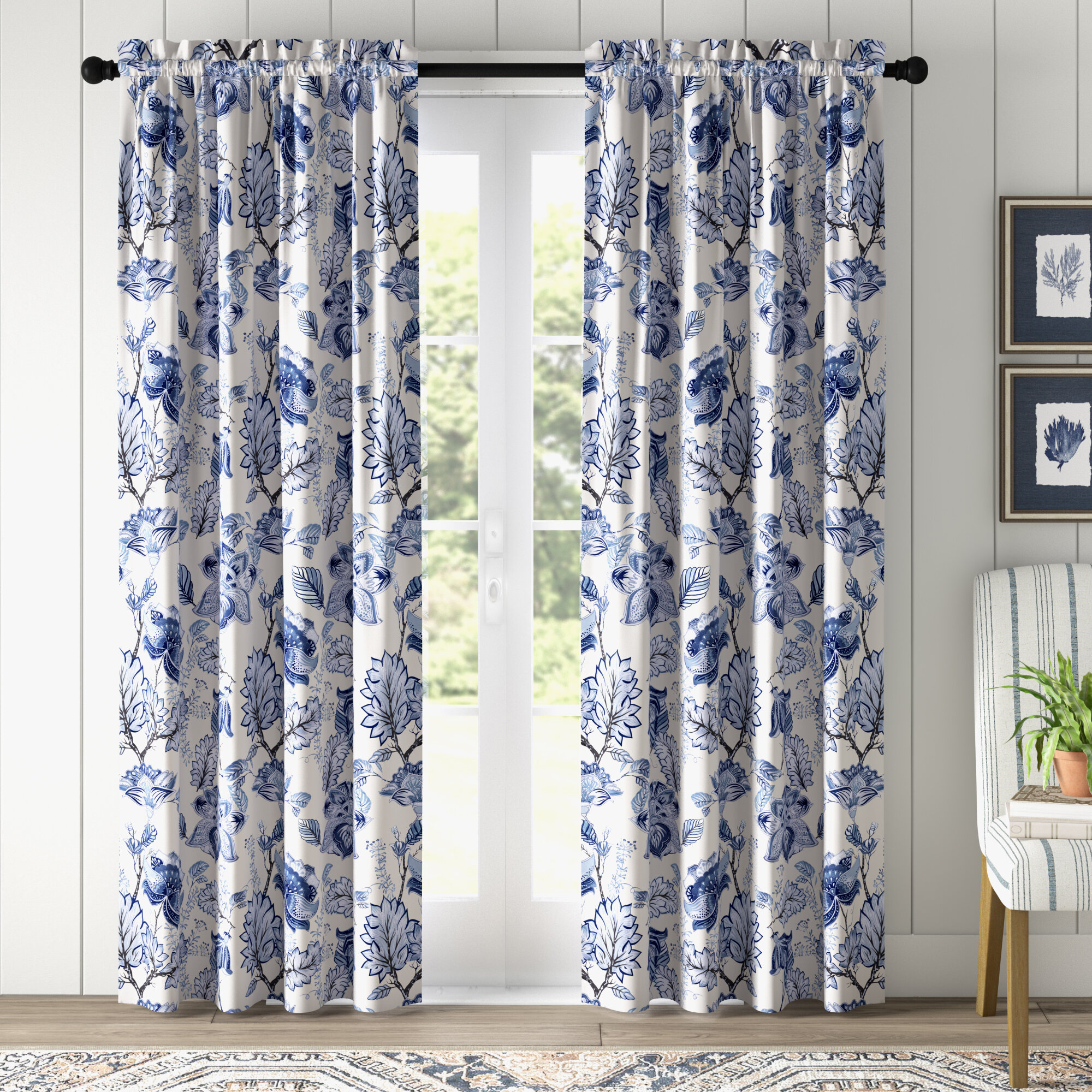 Bargas Floral Semi Sheer Thermal Rod Pocket Curtain Panels Reviews Birch Lane