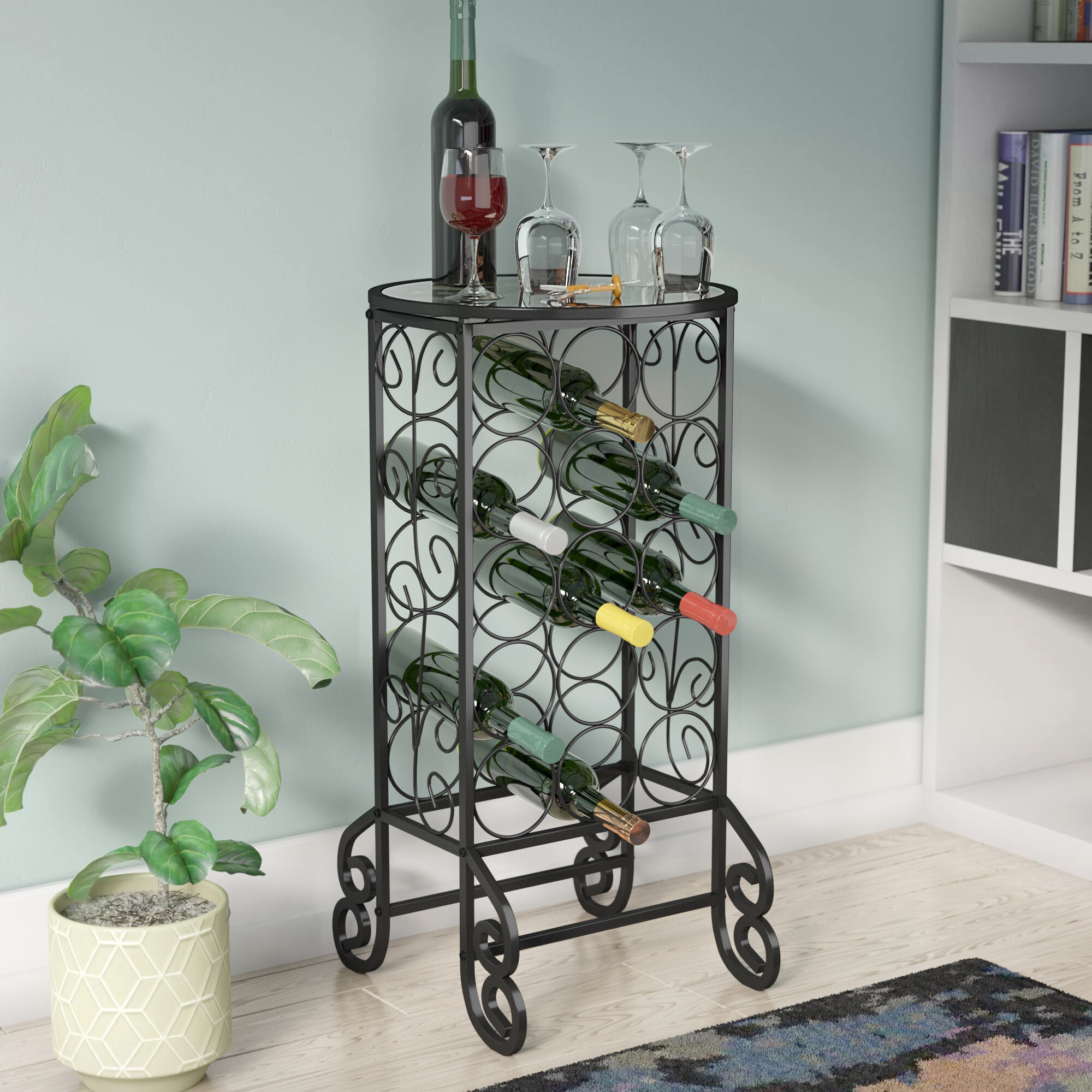 Fox Flower 2 Tier Wine Rack 6 Bottles Tabletop Wine Holder Freestanding Wine Storage with Metal Wood Frame Countertop Wine Shelf for Home Bar Cabinet Pantry