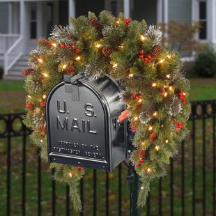 Spruce Pre-Lit Mailbox Cover with 50 Battery-Operated White LED Lights