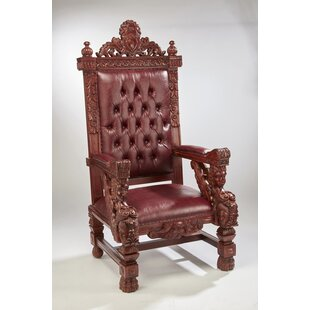 Lorri Mahogany Throne Armchair by Astoria Grand