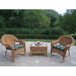 Rosecliff Heights Kingsmill 3 Piece Sunbrella Conversation Set with Cushions