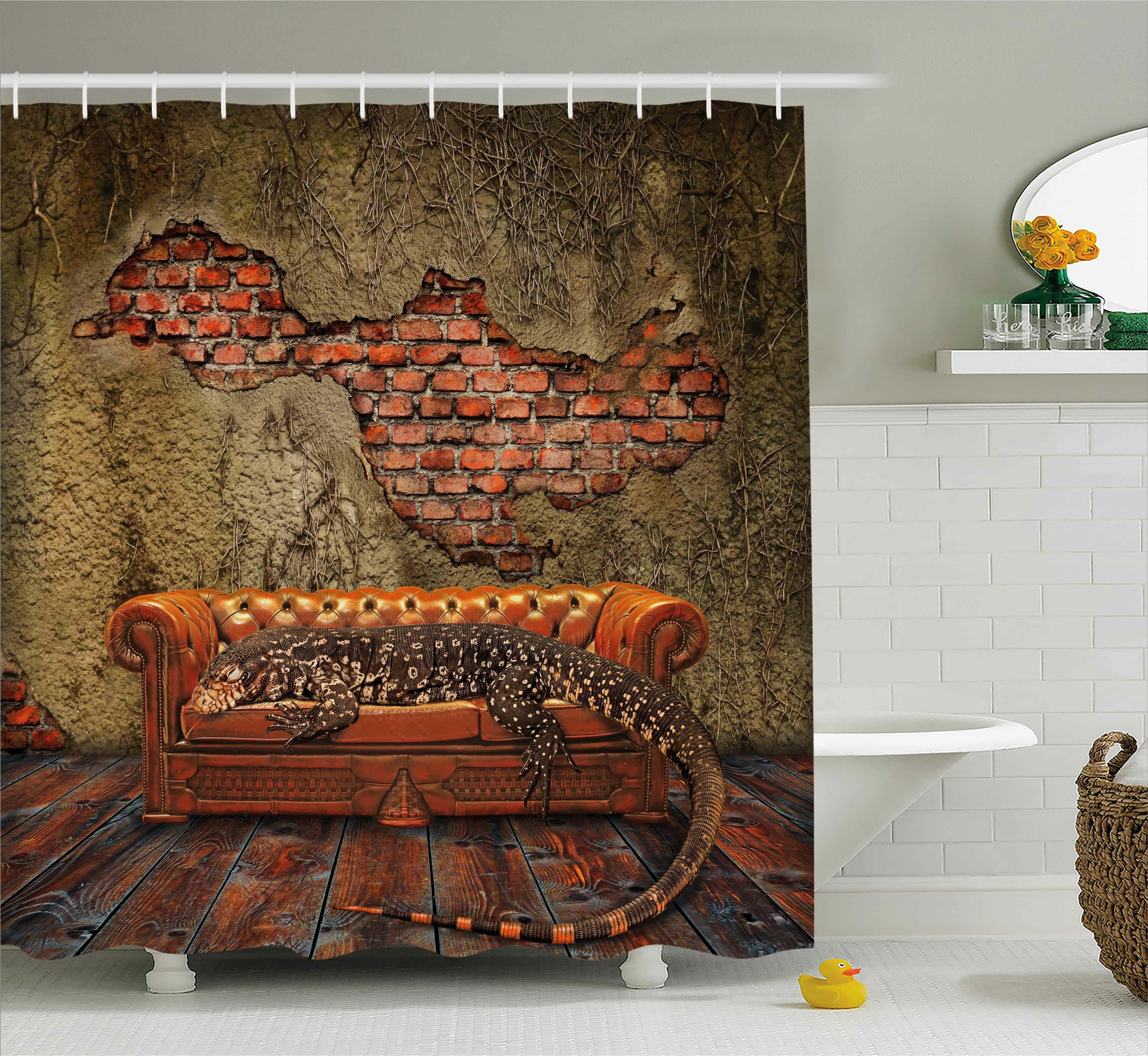 East Urban Home Fantasy Grunge Brick Wall Shower Curtain