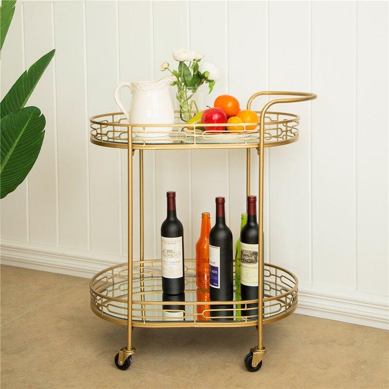Everly Quinn Horsforth Mirrored Bar Cart