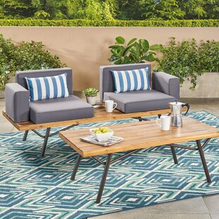 Beaty Acacia Wood 2 Piece Conversation Set with Cushions