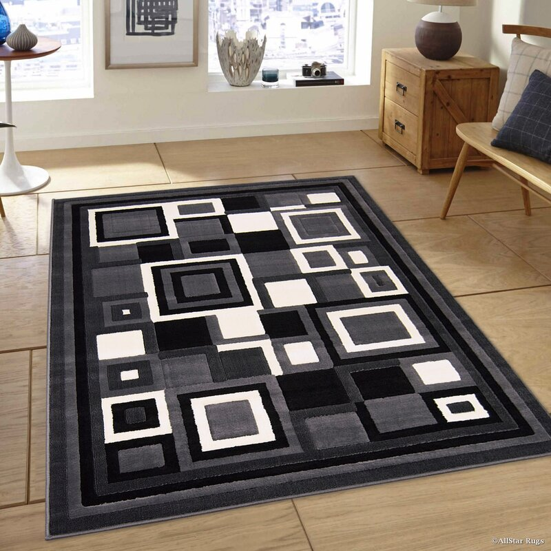 Black Area Rugs allstar rugs hand-woven gray/black area rug & reviews | wayfair