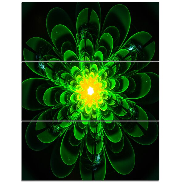 Designart Glowing Green Fractal Flower On Black 3 Piece Graphic Art On Wrapped Canvas Set Wayfair