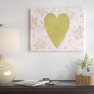 Heart On Floral Graphic Art On Wrapped Canvas In Pink By East Urban Home