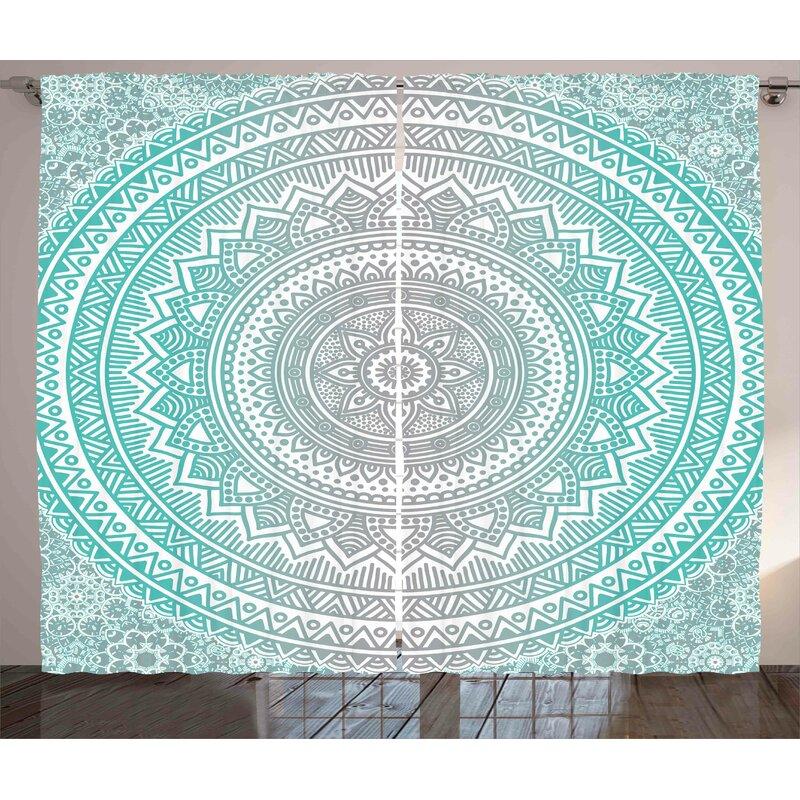 Bungalow Rose Farley Graphic Print And Text Semi Sheer Rod Pocket Curtain Panels Wayfair