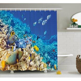Lagoon Zebrafish Decor Single Shower Curtain