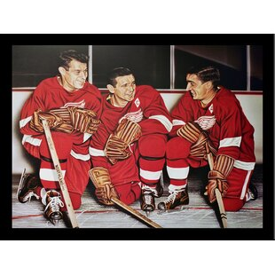'Gordie Howe/Abel/Lindsay Detroit Wings' Print Poster by Darryl Vlasak Framed Memorabilia by Buy Art For Less