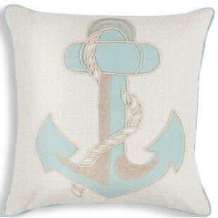 Chamberlain Aqua Anchor Linen Throw Pillow