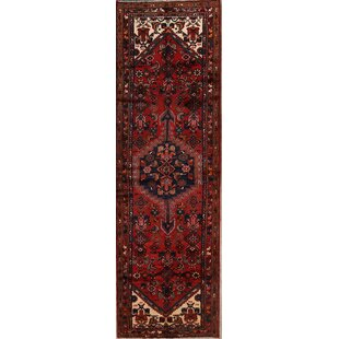 Find One-of-a-Kind Mclennan Hamedan Persian Geometric Hand-Knotted Runner 3'9 x 11'9 Wool Burgundy/Black Area Rug By Isabelline