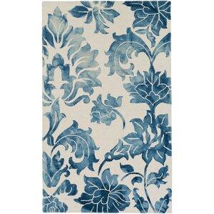 Organic Chloe Hand-Tufted Navy Blue/White Area Rug