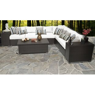 TK Classics Barbados 9 Piece Rattan Sectional Set with Cushions