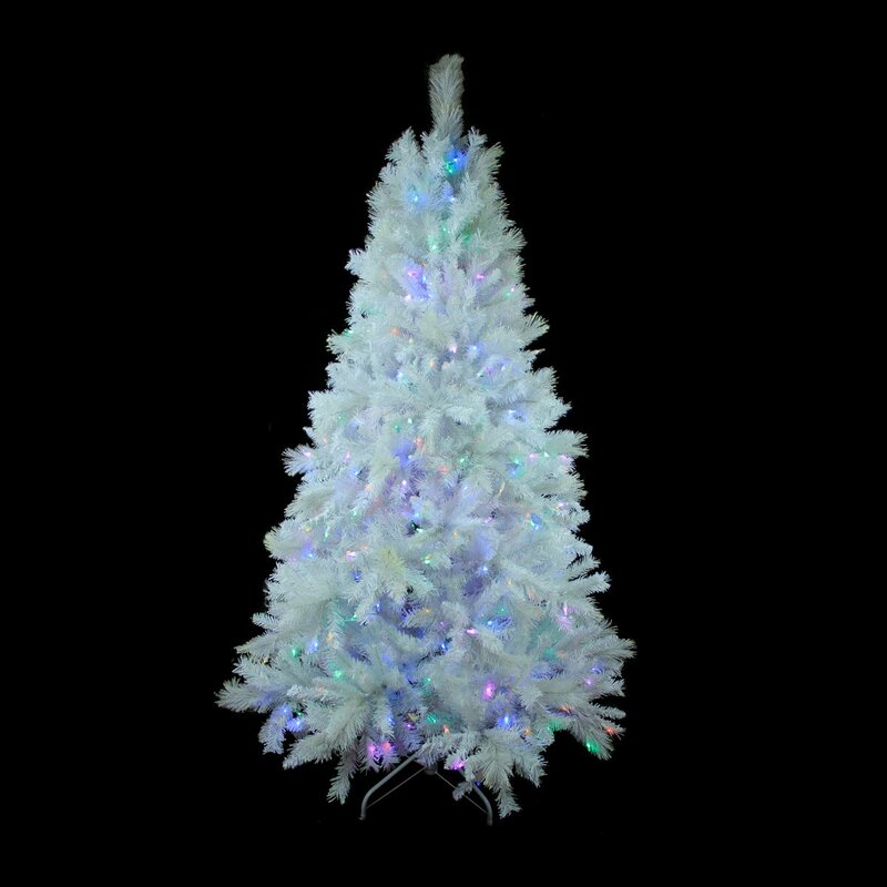 65 white pine artificial christmas tree with 400 led lights with stand - Christmas Tree With Led Lights