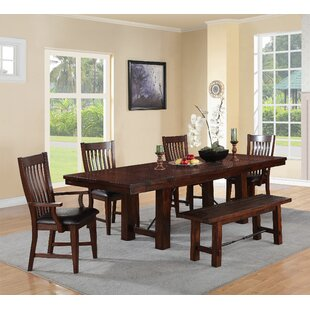 Seiling 6 Piece Extendable Solid Wood Dining Set Loon Peak