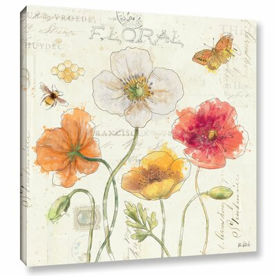 """Painted Poppies III Painting Print on Wrapped Canvas Lark Manor Size: 24"""" H x 24"""" W x 2"""" D"""