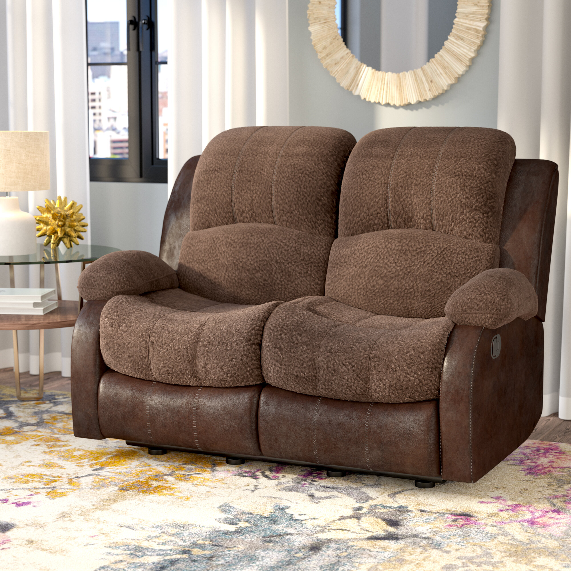with reclining height products threshold double recliner width showcase item southern pwr showcasedouble loveseat trim motion headrest