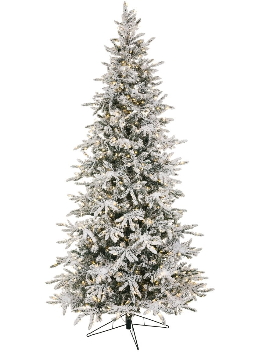 Slim Flocked Christmas Tree With Lights.Slim Balsam 9 Flocked Green Fir Artificial Christmas Tree With 800 Clear White Lights