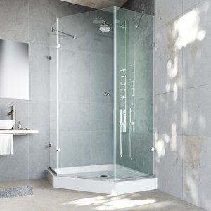 Verona 36 x 36-in. Frameless Neo-Angle Shower Enclosure with .375-in. Clear Glass and Chrome Hardware