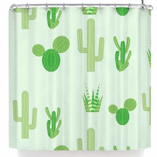 Famenxt Prickly Mint Cactus Single Shower Curtain