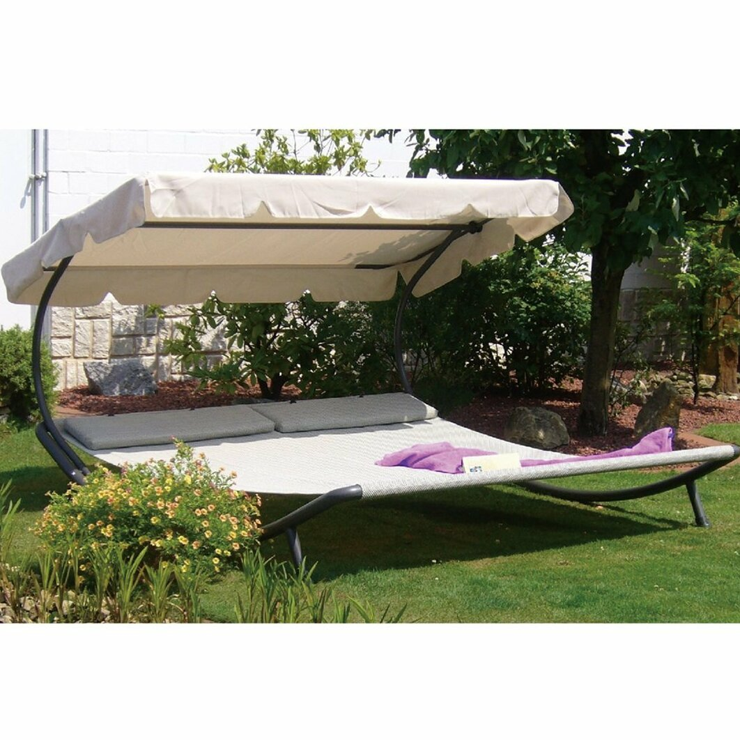 Abba Patio Outdoor Portable Double Chaise Lounge With Sun Shade And Wheels  U0026 Reviews | Wayfair