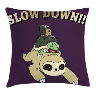 60bad8b9cc4 Sloth Funny Cartoon Scenery Square Pillow Cover