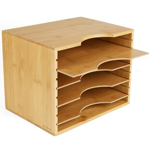 Mind Reader Bamboo 4 Tier File Organizer Box