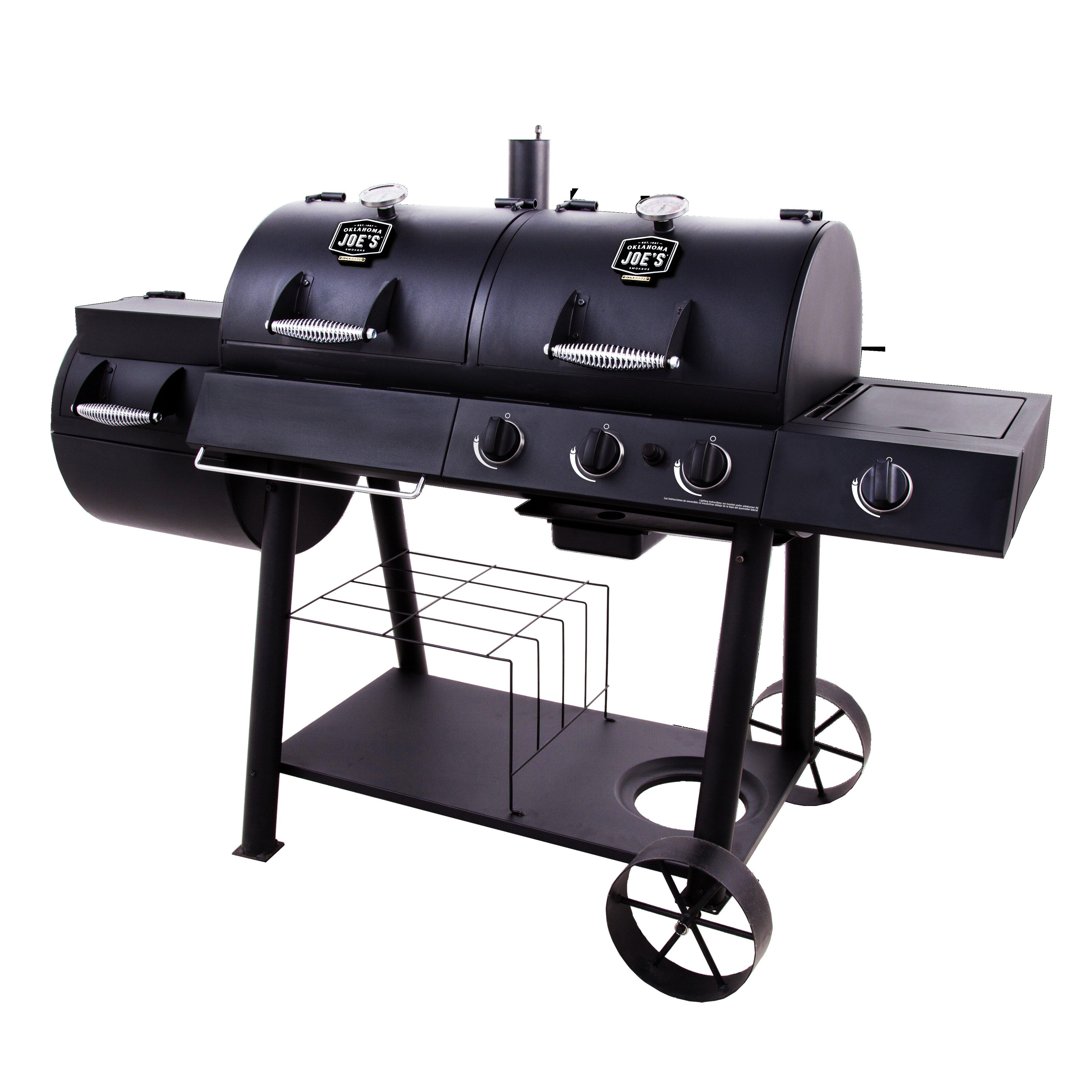 Oklahoma Joe S Offset Propane Smoker Gas Grill Reviews Wayfair