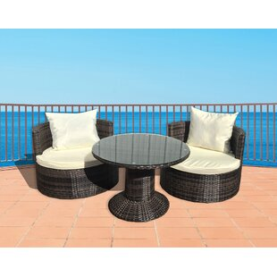 Deeco Geo Vino 3 Piece Sunbrella Conversation Set with Cushions