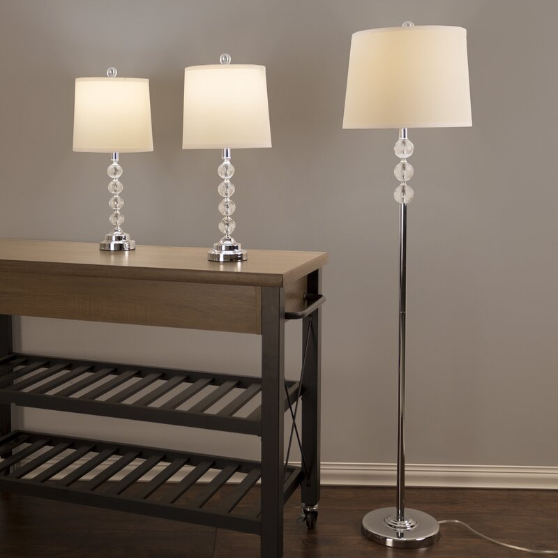 Awesome Faceted Crystal 3 Piece Table And Floor Lamp Set