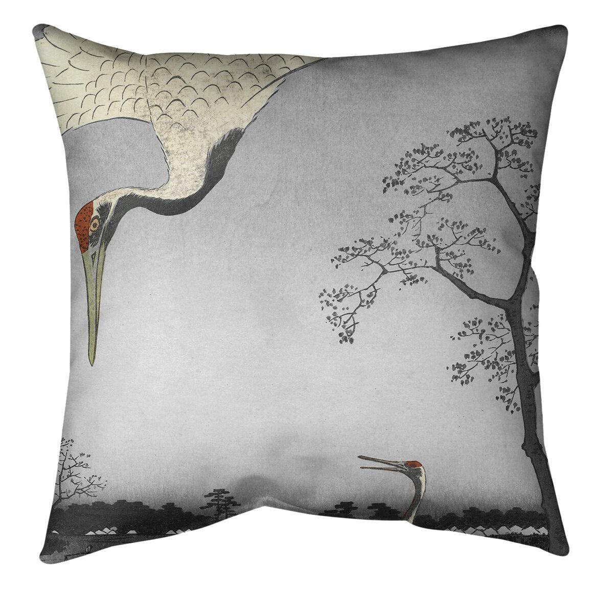 East Urban Home Japanese Cranes Throw Pillow Reviews Wayfair