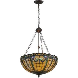 Meyda Tiffany Dragonfly Trellis 2-Light Bowl Pendant